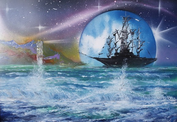 Painting of the galleon at sea